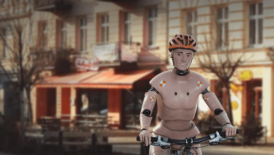 """ACV Onlinekampagne: animierter Crashtest-Dummy entdeckt auf dem Fahrrad die Welt Weiterer Text über ots und www.presseportal.de/nr/116025 / Die Verwendung dieses Bildes ist für redaktionelle Zwecke honorarfrei. Veröffentlichung bitte unter Quellenangabe: """"obs/ACV Automobil-Club Verkehr"""""""
