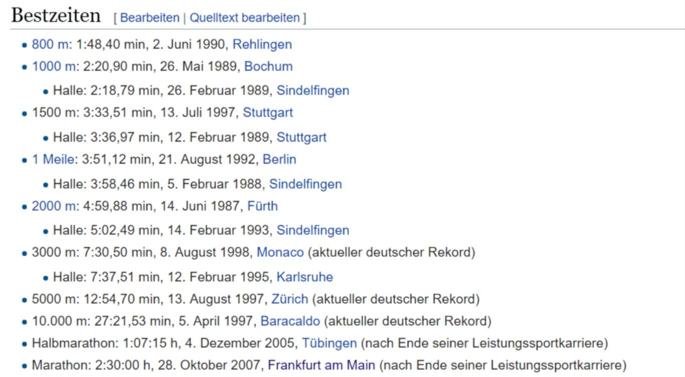 Dieter Baumann Bestzeiten