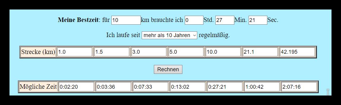 Vergleich verschiedener Laufleistungen Dieter Baumann