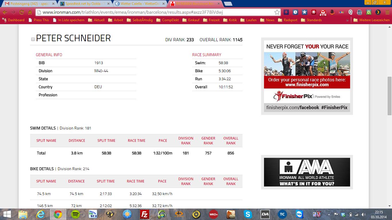 Coaching Ironman Barcelona 2014 prognostizierte Ergebnisse 2014